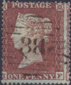 1854 1d Red SG17 Plate 174 'HF'
